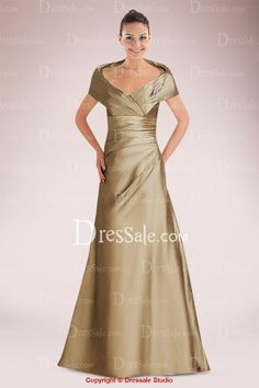 Classic Satin A-line Mother of Bride Dress Featuring Magnificent Portrait Collar