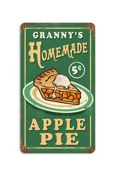 "Granny's Apple Pie Retro Metal Sign - 8"" x 14"" by Hip Retro Metal Signs on @HauteLook"