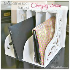 Turn an ordinary magazine rack into a charging station for your phones  tablets. http://100things2do.blogspot.ca/2013/09/magazine-rack-turned-charging-station.html