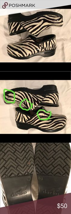 Zebra Print Danskos Printed Danskos. Little wear in the insole or bottoms. Some scuffs to outside with the major ones marked. Size 40. Prices are always negotiable, especially with the purchase of multiple items. Please excuse any of my wrinkles. CHECK OUT ALL MY OTHER LISTINGS TOO- LOTS OF GREAT THINGS!!!! Dansko Shoes