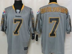 Nike Pittsburgh Steelers  7 Ben Roethlisberger Lights Out Gray Elite Jersey  Lights 9f943bdc7