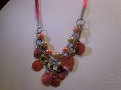 Beautiful combination of glass & shell beads in red ribbon chain 18 inches with additional chain for more length. Ribbon Necklace, Red Ribbon, Indie Brands, Shell, Chain, Beads, My Favorite Things, Store, Stuff To Buy