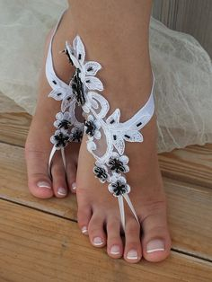 Free Ship White Black silver frame lace barefoot sandals Beach wedding barefoot sandals, Flexible wrist lace sandals, Sandals