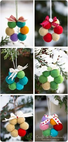 All the Whos Down in Whoville: Felty Grinchmas DIY. These felt crafts made of colorful felt balls are great for christmas decorations. These are easy to make felt crafts. Christmas Projects, Felt Crafts, Holiday Crafts, Diy And Crafts, Wreath Crafts, Felt Christmas Decorations, Christmas Wreaths, Christmas Ornaments, Tree Decorations
