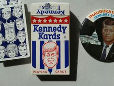 """1960s John F. Kennedy Inaugural Pin and Deck of """"Kennedy Kards"""" Playing Cards."""