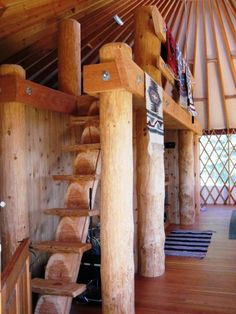 Some creative inspiration for your ideal loft to maximize space in your yurt!