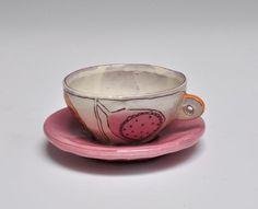 Kari Radasch Espresso Cup & Pink Saucer