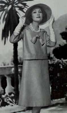 1958 - Yves Saint Laurent for Christian Dior. 1950s fashion images.