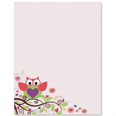 owl border writing paper -