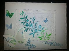 Practicing for RCC. Will make in fall colors.  Can't find my French script stamp, so I used French script embossing folder.