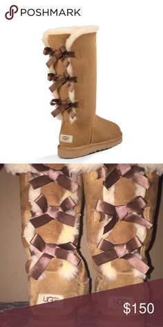 a7114b7975 UGGS Tall Ugg boots with bows in the back of them. UGG Shoes Winter