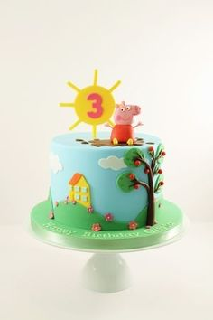 Peppa Pig Cake Ideas - Peppa Cake Birthday Party Cake, Peppa Pig, George Pig, Daddy Pig, Mummy Pig, Peppa House, Muddy Puddle, Red Car, Dinosaur