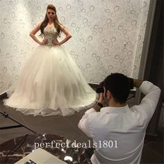Hot sale White/Ivory Ball Gown Crystals Beading Wedding Bridal Dress Custom