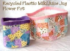 Recycled Plastic Milk or Juice Jug Flower Pot ~ This recycled flower pot craft is a fun Earth Day project that keeps plastic milk jugs out of the landfill and provides a pretty and useful pot to plant flowers in. For instructions and supplies, click here:  http://crafts.kaboose.com/recycled-flower-pot.html  ♥ CUTE! ♥