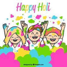 People celebrating holi festival background in hand drawn style Holi Painting, Painting For Kids, Drawing For Kids, Holi Festival Of Colours, Holi Colors, Happy Sankranti Wishes, Holi Drawing, Holi Greetings, Festival Paint