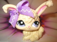 Littlest Pet Shop lot #2182 Rare White Angora Bunny Rabbit w/ Purple Eyes
