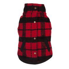Red/Black Plaid Bouclé Dog Coat  by fabdog - available at fabdog.com #dogfashion #dogclothes #dogcoats