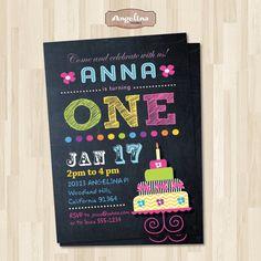 Birthday Cake Chalkboard Invitation. Rainbow by AngelinaWorks