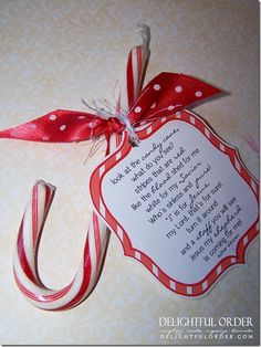 "FREE Printable Candy Cane Poem! POEM: ""Look at the candy cane, what do you see? Stripes that are red like the blood shed for me. White for my Savior who's sinless and pure! ""J"" is for Jesus my Lord, that's for sure! Turn it around and a staff you will see. Jesus my shepherd is coming for me!  For sun school kiddos :)"