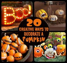 In a pumpkin carving rut? Here are 20 Creative Ways to Decorate a Pumpkin this Halloween! SixSistersStuff.com #pumpkin #halloween