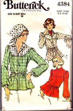 70s Vintage Womens Peasant Blouse Pattern by allthepreciousthings