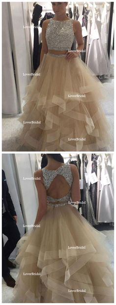 Sexy Two Pieces Open Back Heavily Beaded Tulle Long Evening Prom Dresses, Popular Cheap Long 2018 Party Prom Dresses, 17266