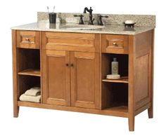 Home Decorators Collection Exhibit 49 in. W x 22 in. D Vanity in Rich Cinnamon with Marble Vanity Top in Crema Marfil with White Sink - The Home Depot 48 Vanity, Vessel Sink Bathroom, Vanity Cabinet, Home Depot Bathroom Vanity, Bathroom Furniture, Bathroom Ideas, Bathroom Stuff, Bath Ideas, Bathroom Designs