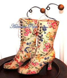 Wedding Summer Victorian Boots Weeding boots Lace up high heels Boots in Faux Leather  flower print Order your Custom size