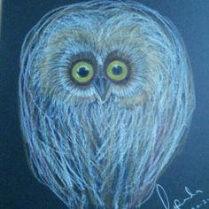 'Bad hair day' - just for fun coloured pencil on black paper