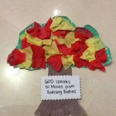 Burning Bushes, craft from sunday school with Moses Theme. easy to make!