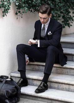 Older Mens Fashion, Mens Fashion Blog, Mens Fashion Suits, Men's Fashion, Fashion Styles, Street Fashion, Dress Suits For Men, Suit And Tie, Men Dress