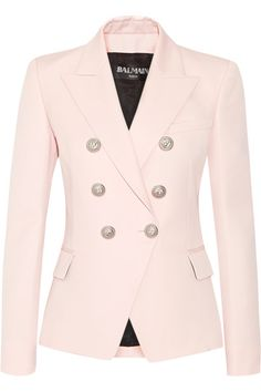 Pastel-pink wool Button fastenings through double-breasted front 100% wool; lining: 52% viscose, 48% cotton Dry clean
