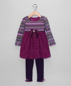 Look what I found on #zulily! Dark Purple Ruffle Tunic & Leggings - Toddler by Young Hearts #zulilyfinds