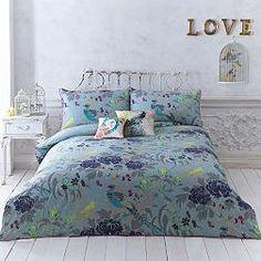 Turquoise 'Magnolia Peacock' bedding set