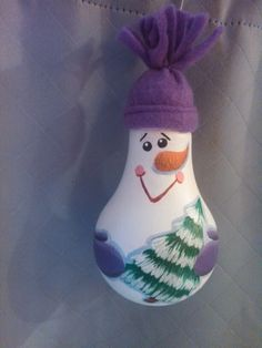 Snowman with tree painted light bulb