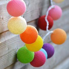 Cotton Ball String Lights - Rainbow - CoastalHome.co.uk: Coastal Living £20