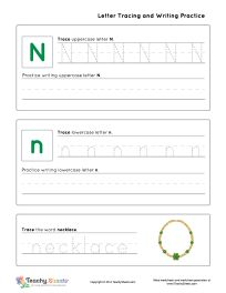 Kindergarten worksheet for tracing letter N n is for necklace. Tracing and writing practice. For more free worksheets or worksheet generators visit us at http://TeachySheets.com