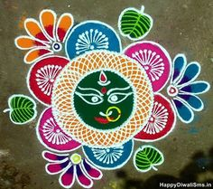 Get simple rangoli designs for Dussehra and Navratri. Make these easy rangoli designs for Dussehra; create beautiful, divine goddess Durga with rangoli. Traditional Rangoli Design, Best Rangoli Design, Indian Rangoli Designs, Rangoli Ideas, Rangoli Designs Images, Diwali Rangoli, Beautiful Rangoli Designs, Mehndi Designs, Beautiful Mehndi