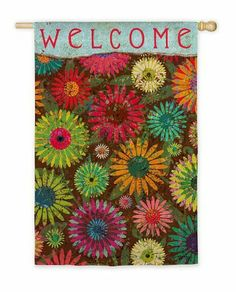"Daisy Pattern Welcome Flag (Regular Size) by House-Impressions. Save 37 Off!. $19.99. 29"" x 43"". Silk Reflections Flag. Words can be read from both sides. Great for yourself or as a gift. Original Artwork by © Tim Coffey, Licensed by Courtney Davis. As colorful as a quilt and as energetic as the sun, these blooms are gorgeous. They fill up this flag with vibrant hues that would make any garden jealous, setting the mood for warm-weather splendor. This flag is eye-catching a..."