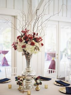 Burgundy, Blush, and Navy Reception Centerpiece The French Bouquet Tulsa, Ok Spain Ranch Photos: Kelbert McFarland Photography