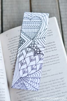 Valentine coloring bookmark