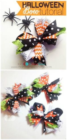 DIY Stacked Halloween Bow - has directions Making Hair Bows, Diy Hair Bows, Ribbon Hair Bows, Diy Bow, Diy Ribbon, Ribbon Crafts, Bow Making, Halloween Hair Clips, Halloween Ribbon