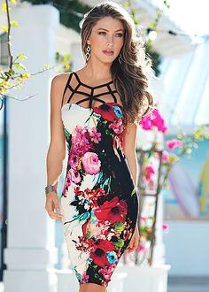 Spring is in full bloom! Venus floral midi dress with Venus peep toe ankle strap heel.