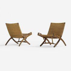 Hans Wegner folding chairs, pair Johannes Hansen Denmark, 1949 stained oak, cane, brass 25.5 w x 29 d x 30.5 h inches Signed with branded manufacturer's mark to frame of each example: [Johannes Hansen Copenhagen Denmark].
