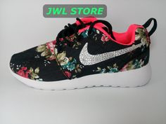 custom nike roshe run women athletic shoes black color by jwlstore