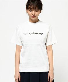 Mila Owen(ミラ オーウェン)のフロッキーロゴプリントTシャツ(Tシャツ/カットソー)|詳細画像