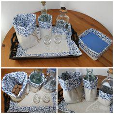 Conjunto Azulejo Azul: individual e saquinhas com dupla face, uma em linho e outra em tecido; atilho para fechar e guardar.