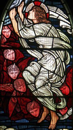 Detail, Burne-Jones Window in the nave at Jesus Church, Troutbeck, Cumbria