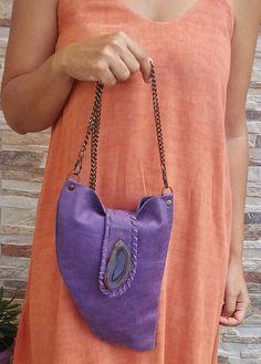 Purple Agate Stone Leather Bag, Purple Leather Shoulder Bag w/h Agate Stone, Purple Leather Agate Stone Bag, Boho Purple Agate Coachella Bag