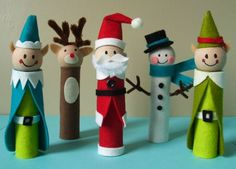 Christmas decoration crafts toilet roll santa claus elf snowman felt